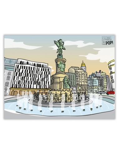 Lamina ZaragozaPop. Zaragoza es Nueva York. Plaza España.
