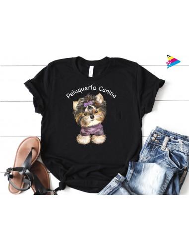 Camiseta negra algodón. Impresión directa color.